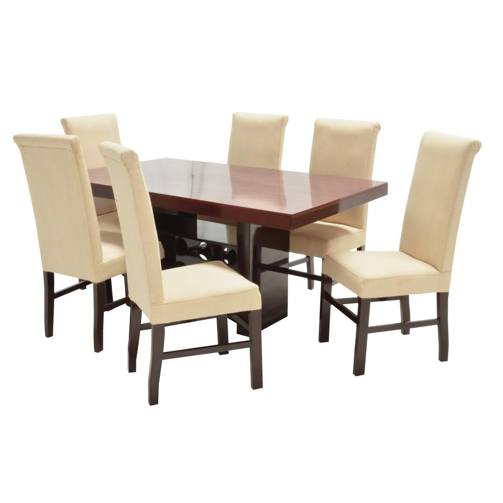 Set de comedor adonia rectangular 6 sillas beige for Set sillas comedor