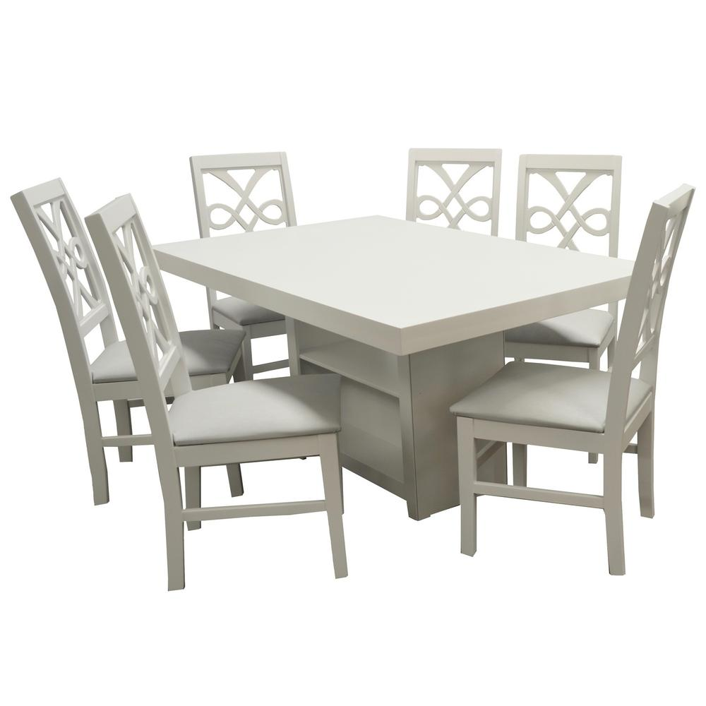 Set de comedor austria rectangular 6 sillas blancas for Set sillas comedor